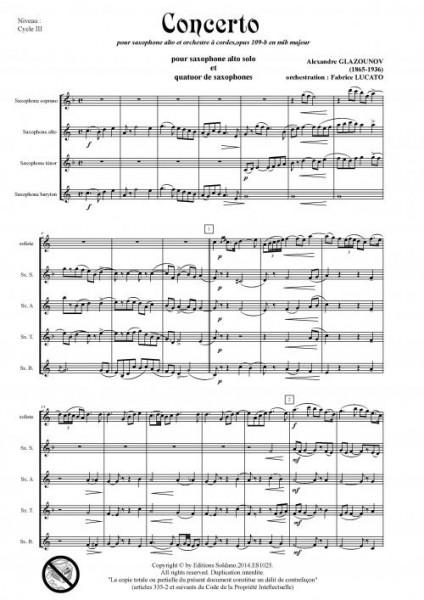 Concerto en mib (sax solo et quatuor de saxophones)