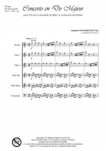 Concerto en do majeur (ensemble de flûtes et violoncelle ad lib.)