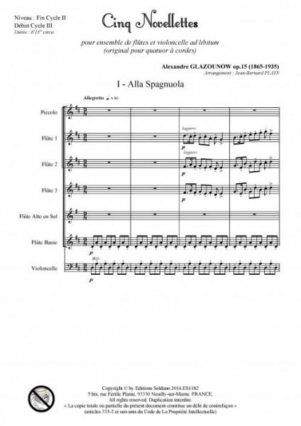 Cinq novellettes -n°1- (ensemble de flûtes et violoncelle ad lib.)
