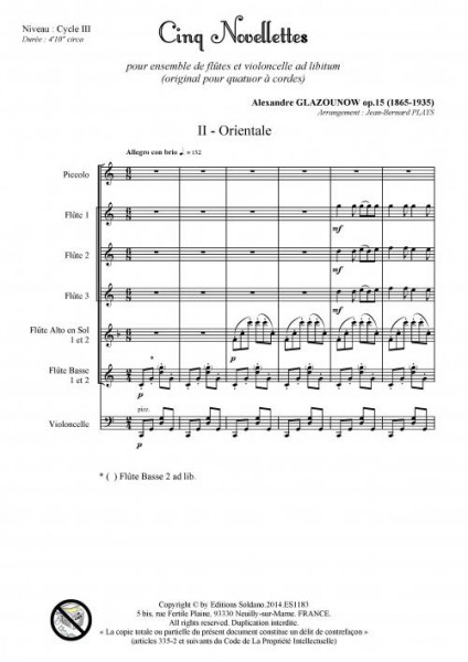 Cinq novellettes -n°2- (ensemble de flûtes et violoncelle ad lib.)