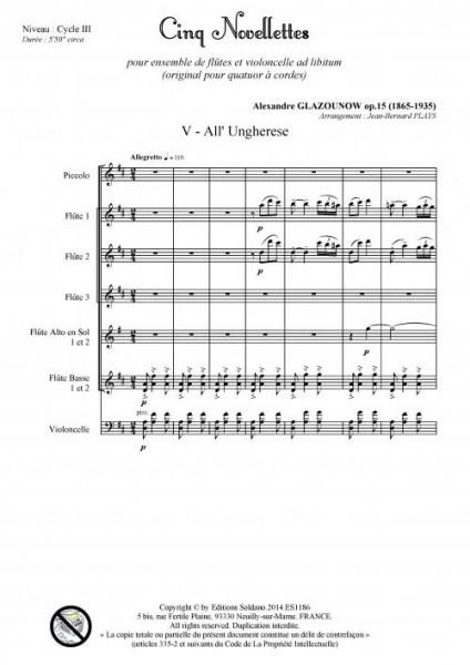 Cinq novellettes -n°5- (ensemble de flûtes et violoncelle ad lib.)