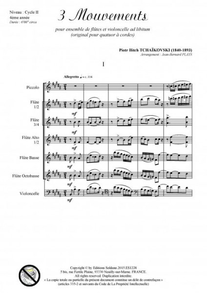 3 mouvements (ensemble de flûtes et violoncelle ad lib.)