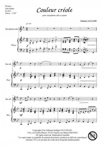 Couleur créole (saxophone alto et piano)