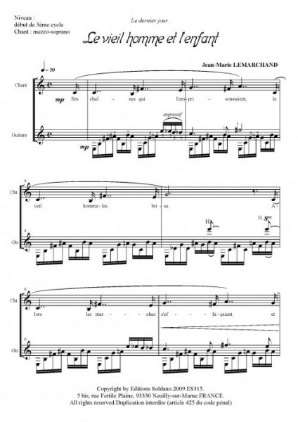 Le vieil homme et l'enfant (mezzo-soprano et guitare)