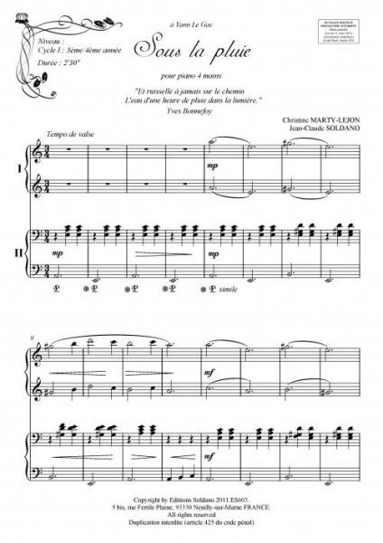 Sous la pluie (piano 4 mains)