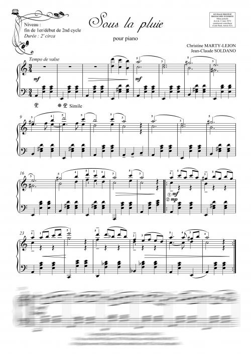 partition piano un soir de pluie