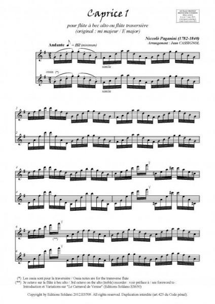 Caprices 1 à 3 (flûte à bec alto ou flûte traversière)