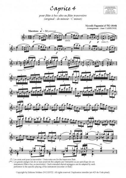 Caprices 4 à 6 (flûte à bec alto ou flûte traversière)