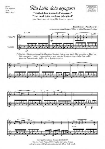 Ala baita dolu egingarri (flûte et guitare)