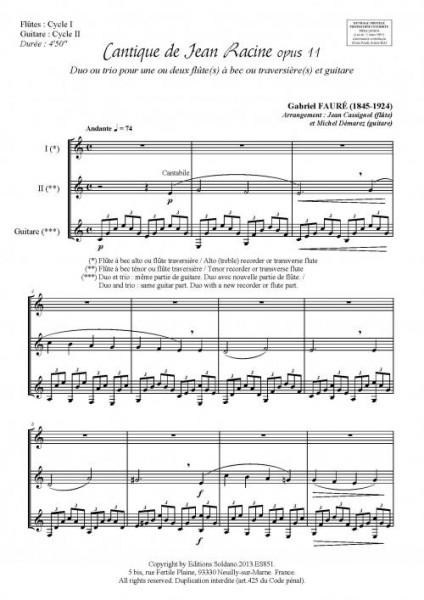 Cantique de Jean Racine (flûtes et guitare)
