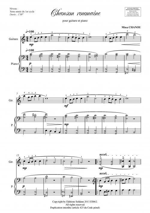 partition guitare et piano