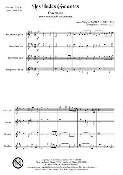 Les Indes galantes - Ouverture (quatuor de saxophones)