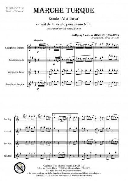 Marche Turque (quatuor de saxophones)