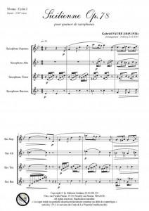 Sicilienne opus 78 (quatuor de saxophones)