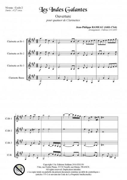 Les Indes galantes - Ouverture (quatuor de clarinettes)