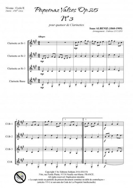 Pequenaz valse n°3 (quatuor de clarinettes)