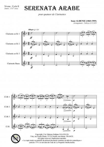 Serenata arabe (quatuor de clarinettes)
