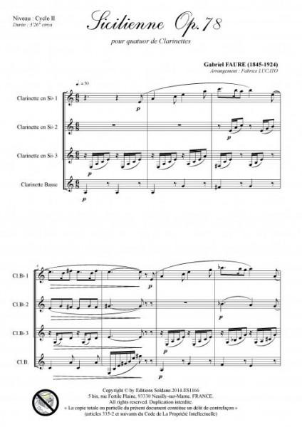 Sicilienne opus 78 (quatuor de clarinettes)