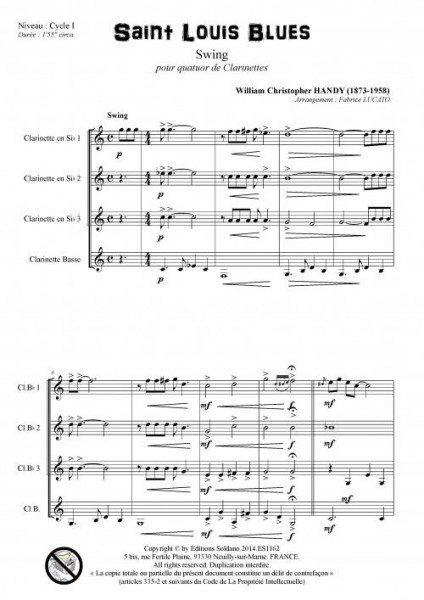 Saint Louis Blues (quatuor de clarinettes)