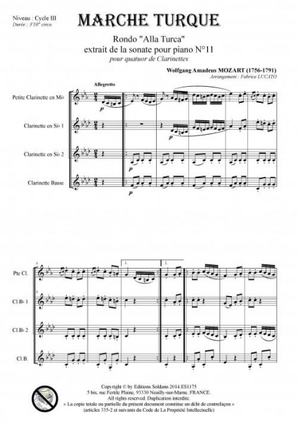 Marche Turque (quatuor de clarinettes)