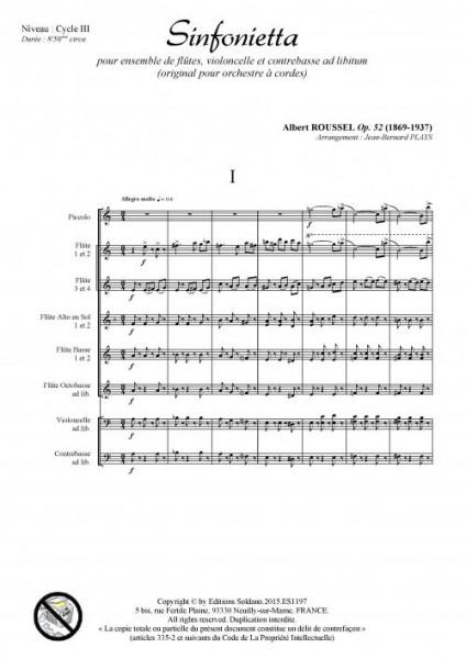 Sinfonietta (ensemble de flûtes et cordes ad lib.)