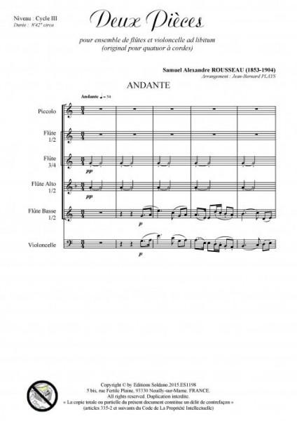 Deux pièces - Andante et Scherzo (ensemble de flûtes et violoncelle ad lib.)