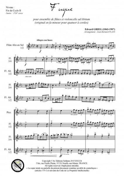 Fugue (ensembles de flûtes et violoncelle ad lib.)