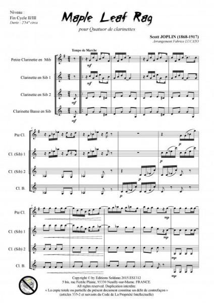 Maple leaf rag (quatuor de clarinettes)