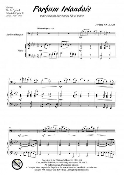 Parfum irlandais (saxhorn baryton et piano)
