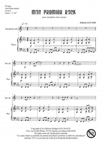 Mon premier rock (saxophone alto et piano)