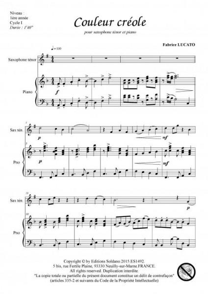 Couleur créole (saxophone ténor et piano)