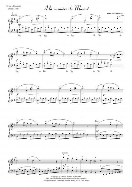 A la manière de Mozart (piano)
