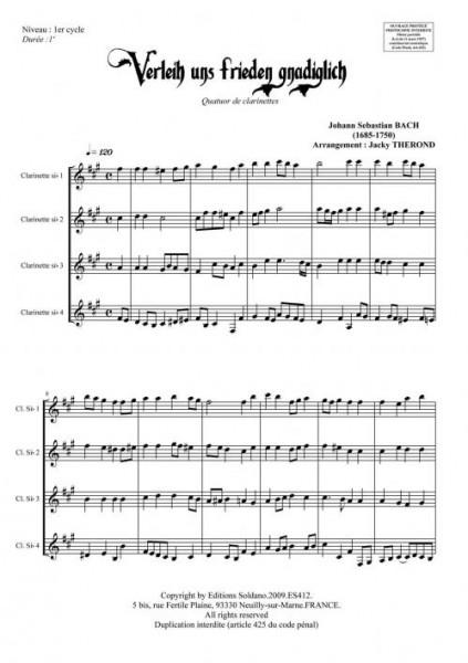 Verleih uns frieden gnadiglich (quatuor de clarinettes)