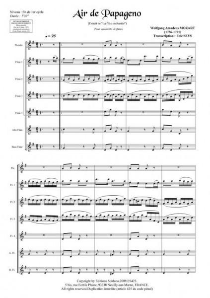Air de Papageno (ensemble de flûtes)