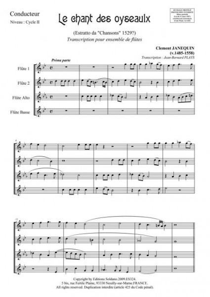 Le chant des oyseaulx (ensemble de flûtes)
