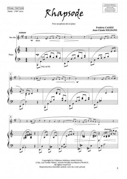 Rhapsode (Sax alto/Piano)