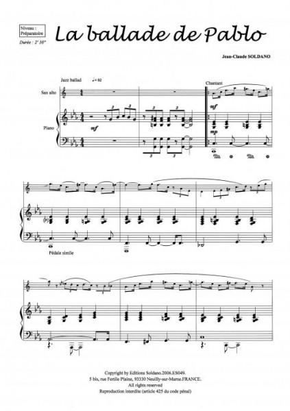 La ballade de Pablo (saxophone alto et piano)