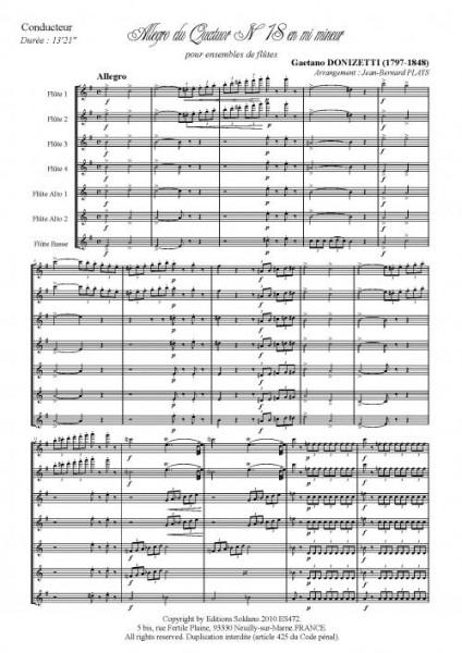 Allegro du quatuor n°18 en mi mineur (ensemble de flûtes)