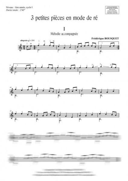 3 petites pièces en mode de ré (guitare)
