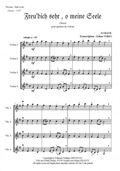 Deux chorals (quatuor de violons)