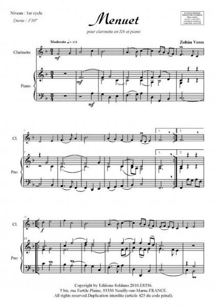Menuet (clarinette et piano)