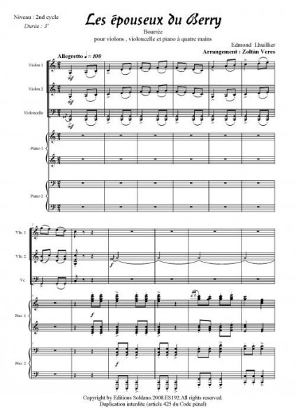 Les épouseux du Berry (2 violons, violoncelle et piano 4 mains)