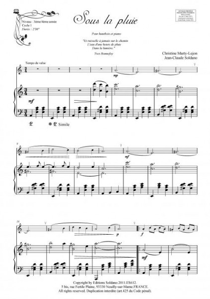 Sous la pluie (hautbois et piano)