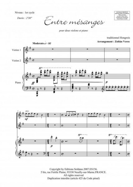 Entre mésanges (violons et piano)