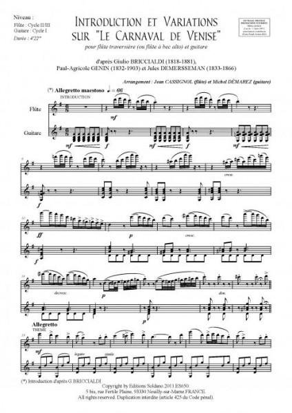 Introduction et Variations sur le Carnaval de Venise (flûte et guitare)