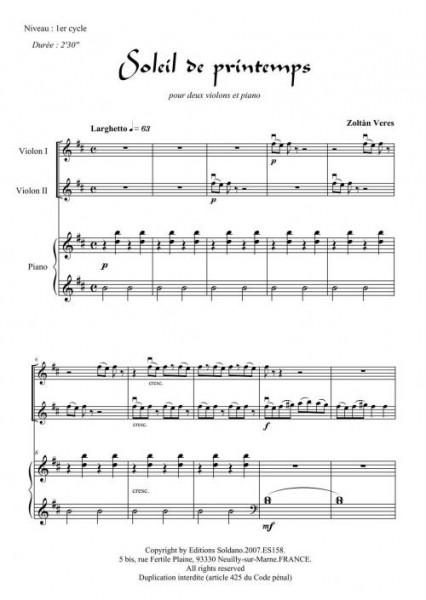 Soleil de printemps (violons et piano)