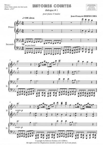 Histoires courtes - dialogue # 1 (piano 4 mains)