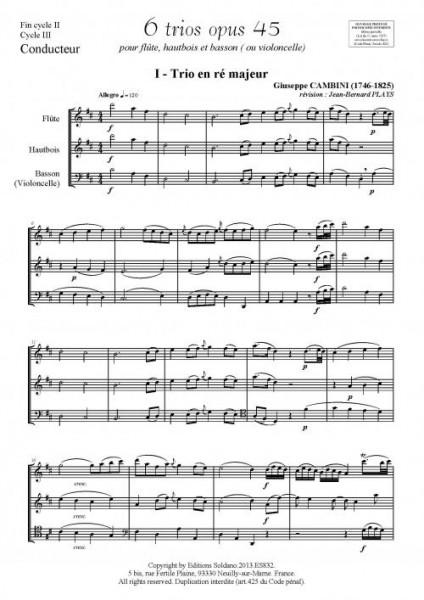 6 trios - VOLUME1 (pour flûte, hautbois et basson ou violoncelle)