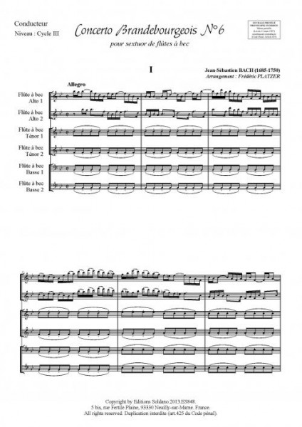 Concerto Brandebourgeois n°6 (sextuor de flûtes à bec)