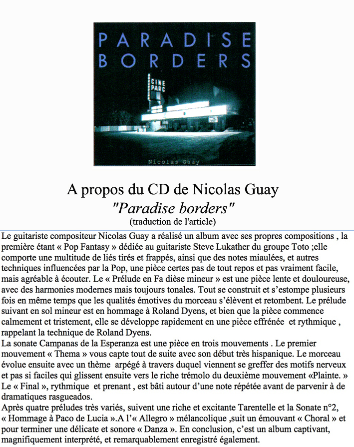 traduction article CD Paradise borders